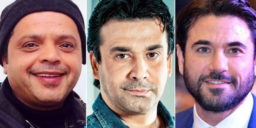 نجوم أفلام موسم الصيف السينمائي (من اليمين) أحمد عز وكريم عبد العزيز ومحمد هنيدي.